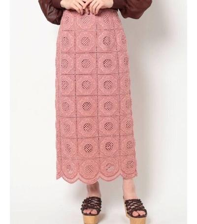 MERCURYDUO カットワーク刺繍ペンシルスカート