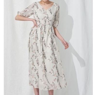 MERCURYDUO 楊柳刺繍シャーリングワンピース