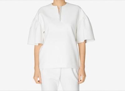 yokochan Gathered-sleeve Pearl Blouse