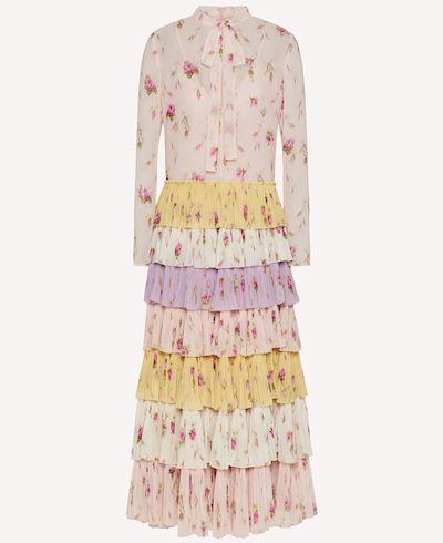 RED VALENTINO フラウンス ドレス モスリン SWEET ROSESプリント