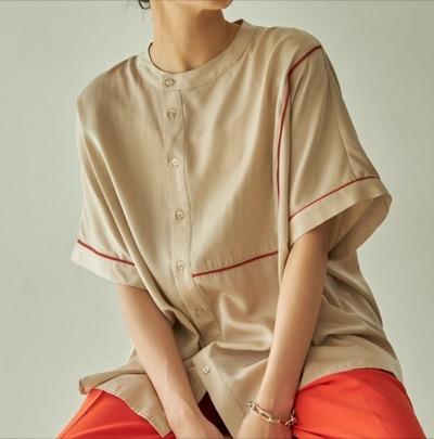 VACANCY パイピングハーフバンドカラーシャツ