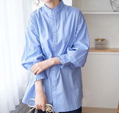 ROPE' PICNIC フリルバンドカラーシャツ