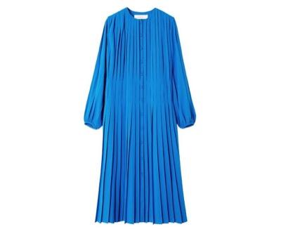 LE CIEL BLEU PLEATED COLLARLESS DRESS