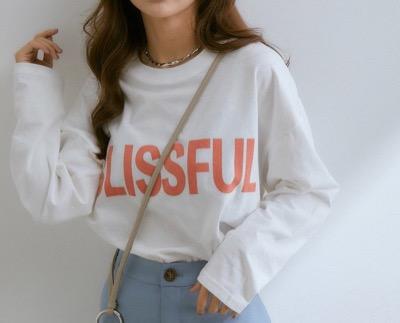 vis-`a-vis ビックサイズプリントロゴロングTシャツ